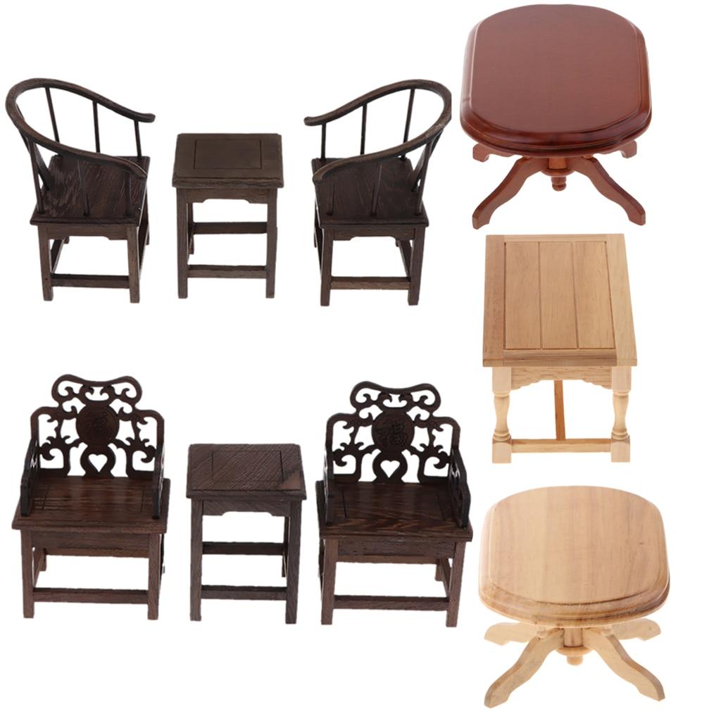 1:6th escala dollhouse mesa final de madeira mesa de centro móveis da sala de estar