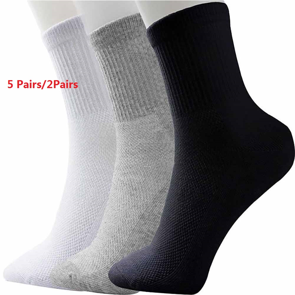 5 Pairs/2 Pairs All Seasons Men's Socks Comfortable Cotton Sport Sock Middle Tube Solid Color Winter Autumn Mesh Socks