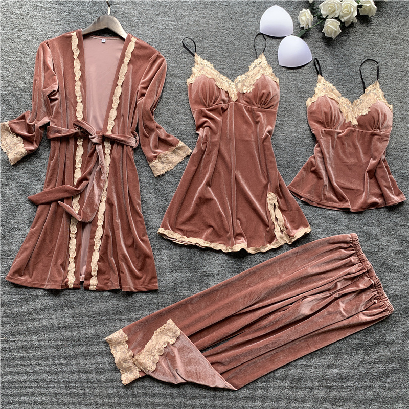 Golden Velvet Keep Warm 4 Pcs Women Robe Set Lace Sexy With Chest Spaghetti Strap Pijama