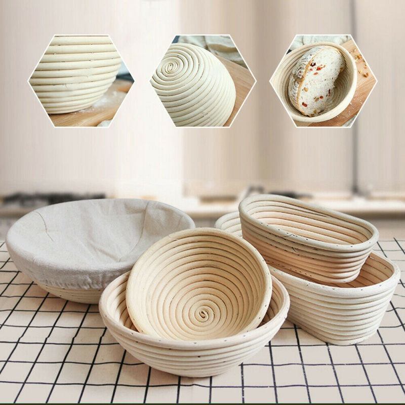 3 Sizes Fermentation Rattan Basket Wicker Bread Proofing Food Storage Basket Baking Dough Rattan Basket Proving Tools