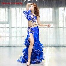 Mulheres de Dança do ventre Roupas Desempenho Sentido Novo Longa Saia Terno Terno Competição de Dança Oriental