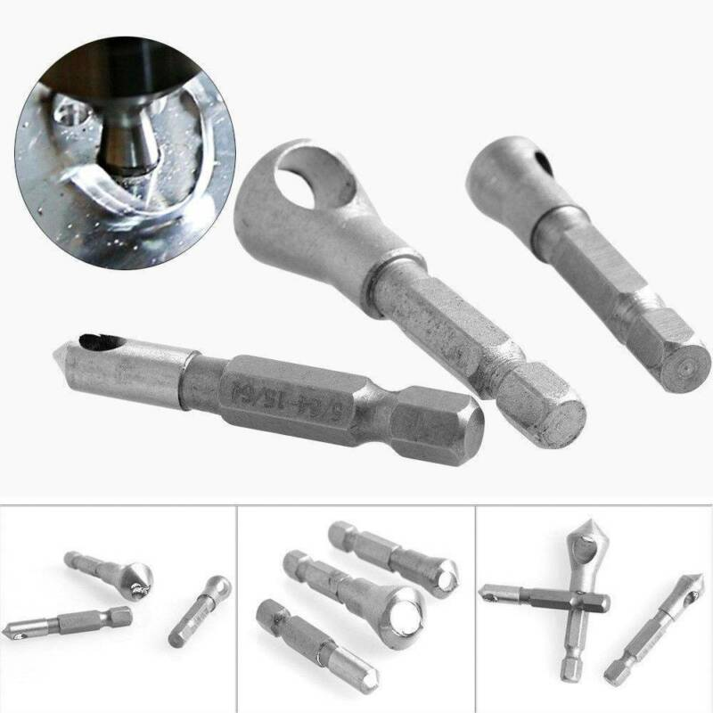 3Pcs//Set Wood Metal Drill Bit HSS Titanium Coated Countersink /& Deburring Tools