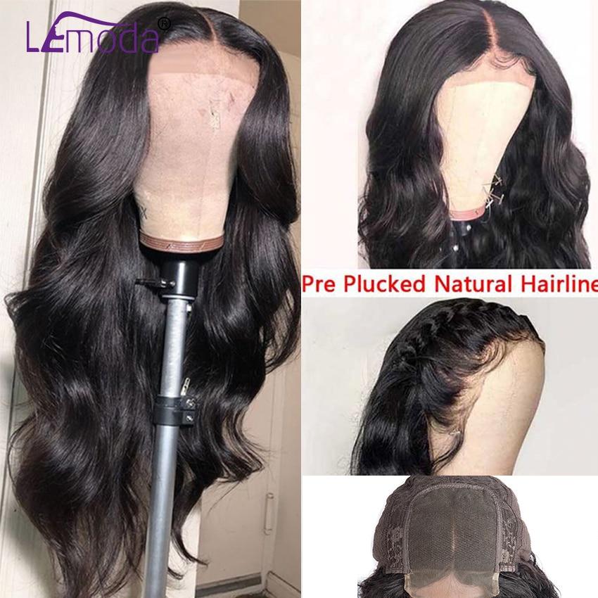 H824b455b359a422aa9c215e195c138eaz 26 Inch Body Wave Wig Malaysian 4x4 Closure Wig Preplucked Natural Human Hair High Ratio Lemoda 150% Remy Hair Lace Closure Wig