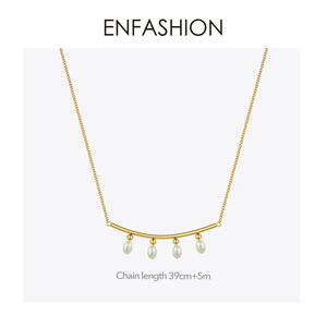 Image 5 - Enfashionパールチョーカーネックレス女性ゴールドカラーのステンレス鋼のペンダントネックレスクリスマスプレゼントファムファッションジュエリーP193029