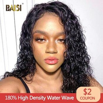 BAISI de la onda de agua de la peluca del pelo humano del frente del cordón pelucas con minimechones pelo virginal brasileño Bob corto pelucas del pelo humano del frente del cordón pelucas