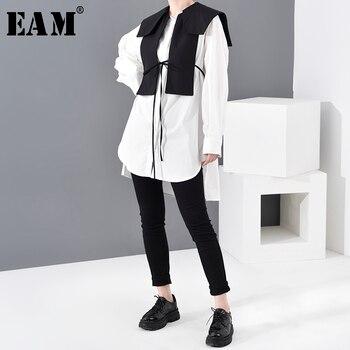 [EAM] Women White Bandage Split Joint Bandage Blouse New Lapel Long Sleeve Loose Fit Shirt Fashion Spring Autumn 2020 1N50400