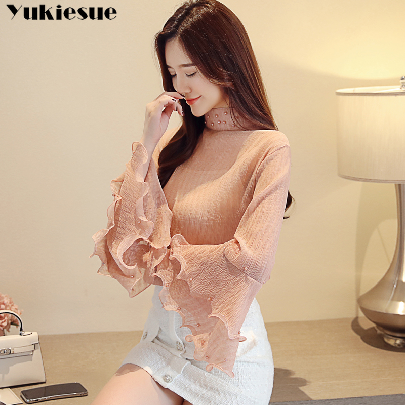 woman blouses 2021 summer flare sleeve beading women's shirt blouse for women blusas womens tops and blouses chiffon shirts 2