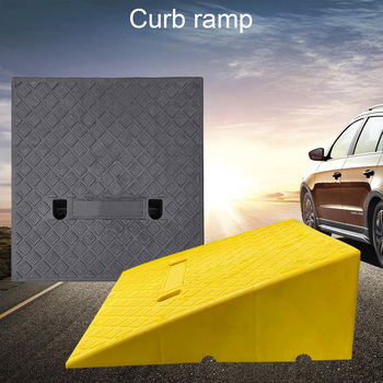 Portable Curb Ramps Plastic Heavy Duty Threshold Curb Ramp Mat Pad Car Truck Motorcycle Wheelchair Slope Pad 18-21cm Height Step image
