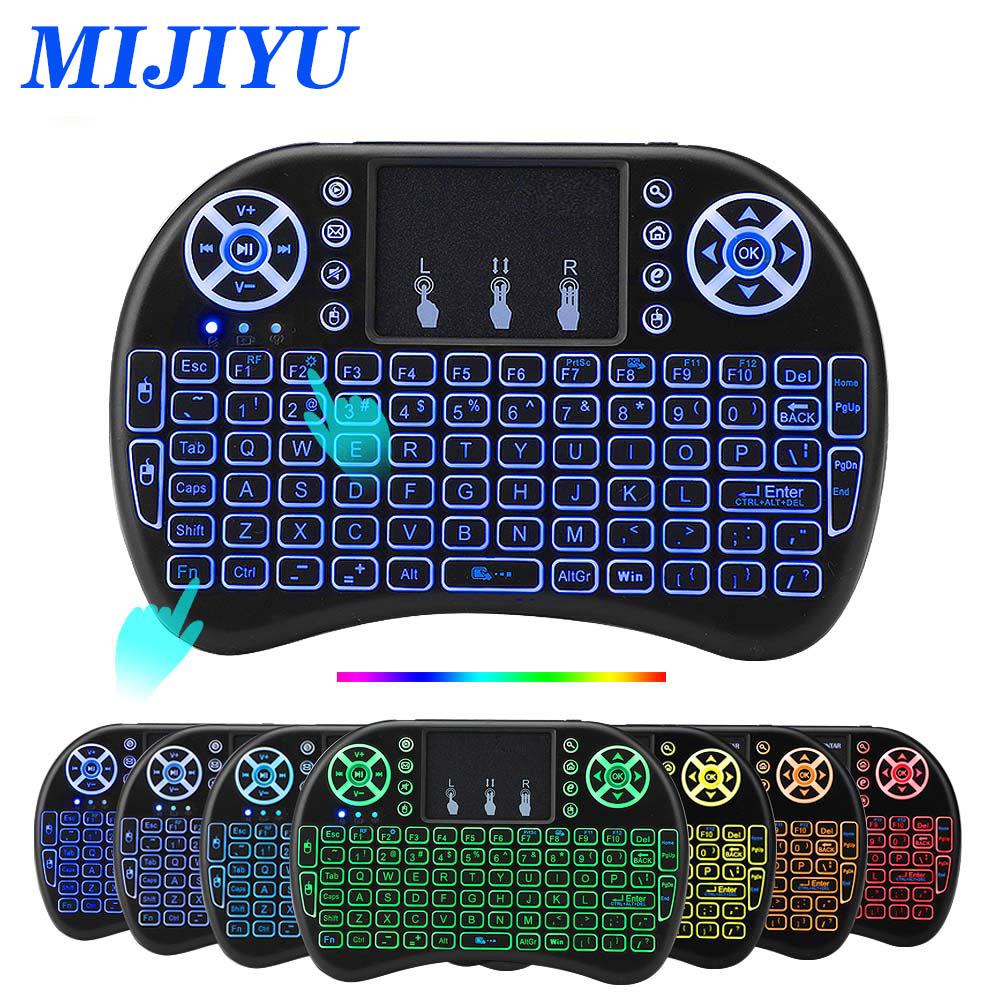 <font><b>i8</b></font> <font><b>keyboard</b></font> backlit English Russian Spanish Air Mouse <font><b>2.4GHz</b></font> <font><b>Wireless</b></font> <font><b>Keyboard</b></font> Touchpad Handheld for TV Box H96 max PC image