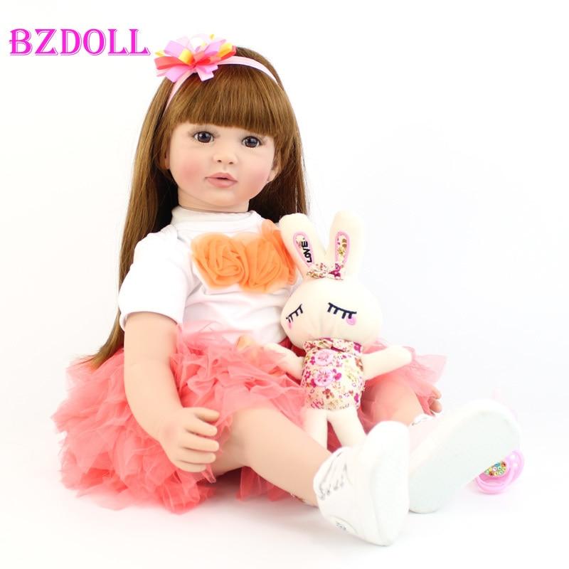 60cm Silicone Reborn Baby Doll Toys For Children Exquisite Vinyl Newborn Princess Toddler Alive Girl Boneca Babies Birthday Gift