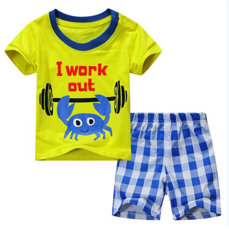 TUONXYE Children's Cute Crab Design Nightwear Boys Short Sleeve Pajamas Set Kids Pijama for Summer Home Wear Clothing 1