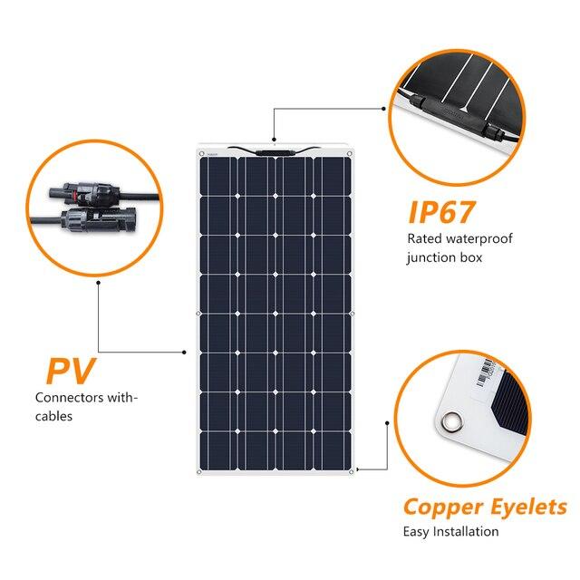 2Pcs 4Pcs 10Pcs 100W solar panel Monocrystalline Solar Cell Flexible for Car/Yacht/Steamship 12V 24 Volt 100 Watt Solar Battery 4