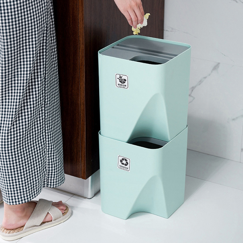 Kitchen Trash Can Stacked Sorting Trash Bin Recycling Bin Household Dry And Wet Separation Waste Bin Rubbish Bin for Bathroom|Waste Bins| |  - title=