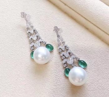 D409 Pearl Earrings Fine Jewelry 925 Sterling Silver Natural 8-9mm Fresh Water White Drop Pearls Earrings for Women Presents