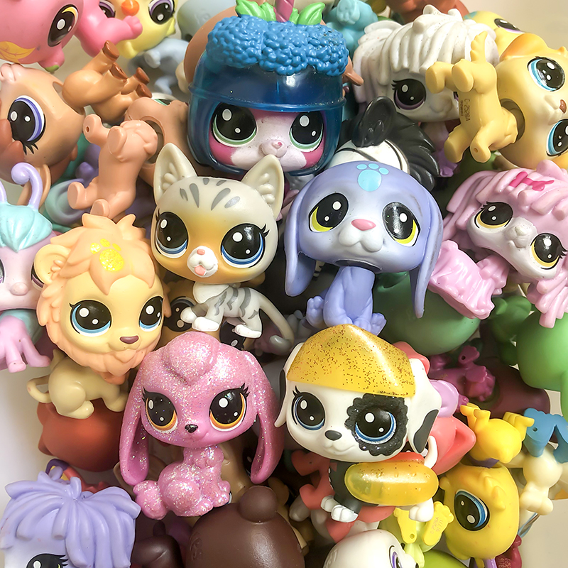 FGHGF 10LPS/LOT LPS Pet Shop Collection Figure Collie Dog Cat Bird Ribbat Animals Loose Cute Kid Toys Figure Gift