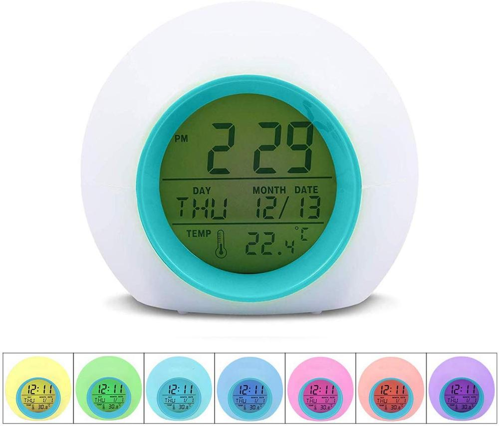 Kids Digital <font><b>Alarm</b></font> <font><b>Clock</b></font> Student for <font><b>Boys</b></font> Girls 7 Color Changing Light Bedside with Indoor Temperature Touch Control & Snoozing image