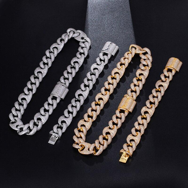 18MM ensemble Bling AAA CZ cubique zircone glacé boîte fermoir luxe cubain lien chaîne collier pour hommes Hip Hop rappeur bijoux 18''24'' - 2