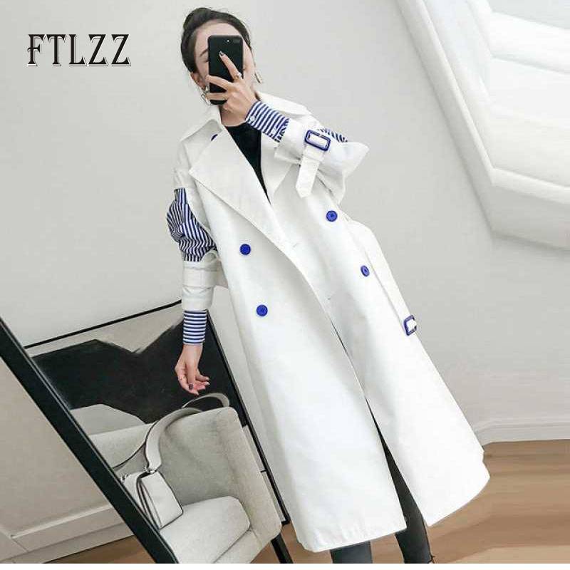 2019 Women Long   Trench   Coat New Spring Autumn Casual Korean Style Elegant Double-breasted Patchwork Stripe White Windbreaker