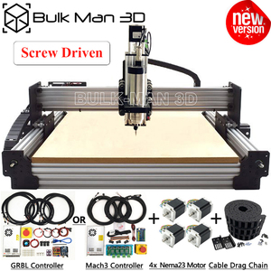 4Axis Newest WorkBee CNC Router Machine Kit with Tingle Tension System + Mach3 GRBL Controller + Cable Drag Chain + 4pcs Nema23