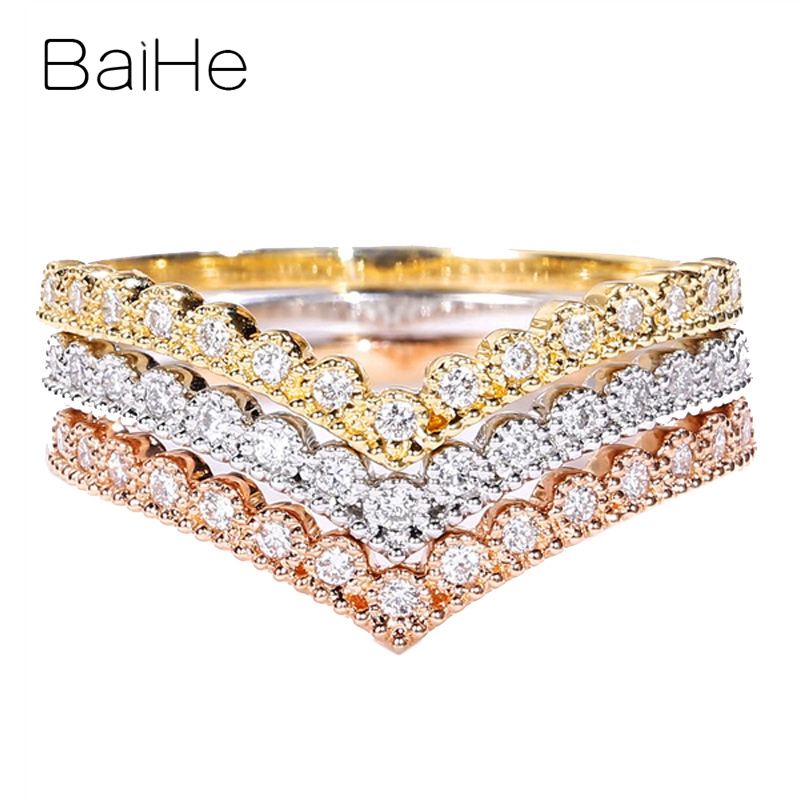 BAIHE Solid 14K Rose Gold About 0.07ct Certified H/SI Round cut 100% Genuine Natural Diamonds Engagement Fine Jewelry Gift Ring