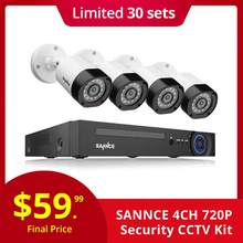 SANNCE 4CH Cctv-systeem 720P HDMI AHD CCTV DVR 4 STUKS 1.0 MP IR Outdoor Bewakingscamera Camera Surveillance kit(China)