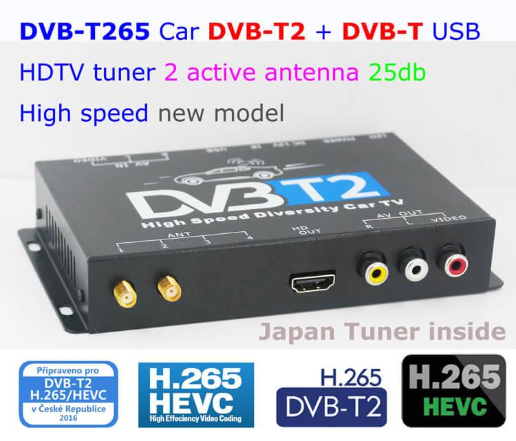 dtv1500m - HDTV Car DVB-T265 Germany DVB-T2 H.265 HEVC MULTI PLP Digital TV Receiver automobile DTV box  With Two Tuner Antenna Freene
