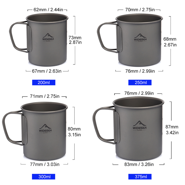 Widesea Camping Mug Titanium Cup Tourist Tableware Picnic Utensils Outdoor Kitchen Equipment Travel Cooking set Cookware Hiking 2