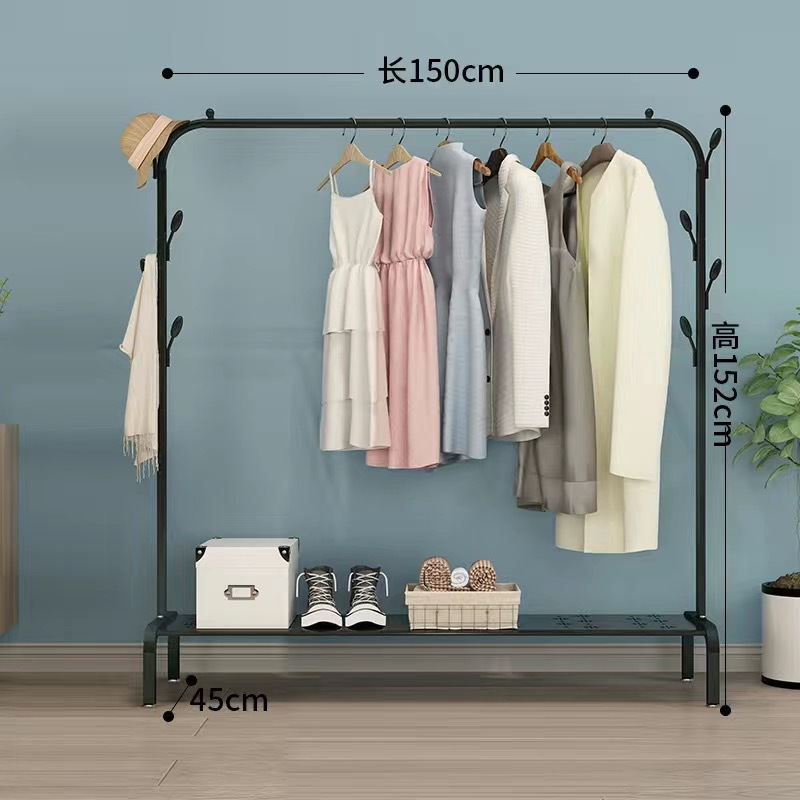 Stainless Steel Clothes Rack Removable Floor-standing Clothing Hanger Indoor Balcony Drying Rack Shoes Box Organizer Coat Rack