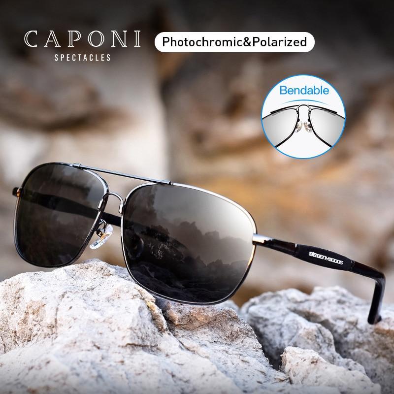 Caponi Polarized Sunglasses Men Original Brand Vintage Driving Sun Glasses UV400 Classic Style Eyewear For Men BS10001