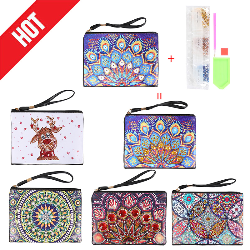 DIY Special Shaped Diamond Painting Wallet Christmas Coin Purse Bag Dec Keychain