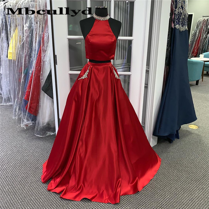 Mbcullyd Two Piece   Prom     Dresses   For Women Sparkling Beads 2019 Red Satin Long Formal Evening   Dress   Party For Women