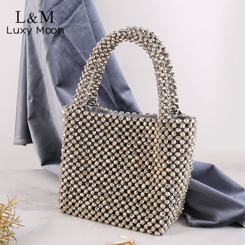 Women Evening Handbag Silver Rhinestone Beading Hand Bag Luxury Ladies Banquet Mini Handbags Diamond Glitter Party Bags XA800H