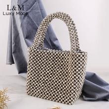 Women Evening Handbag Silver Rhinestone Beading Hand Bag Lux