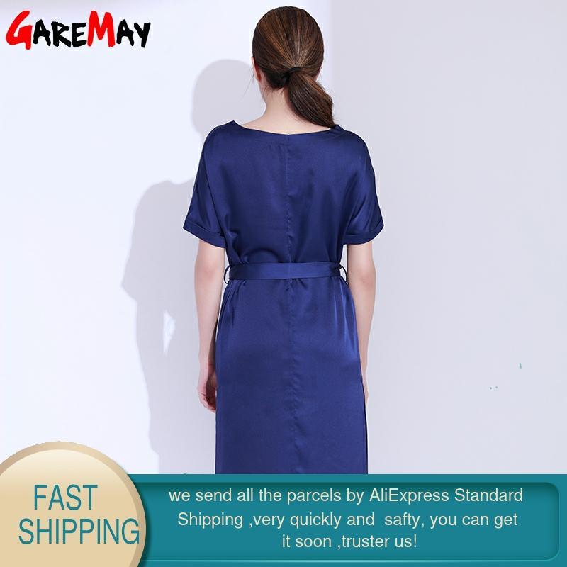 Vestido de satén para mujer Elegante talla grande Vestido azul - Ropa de mujer - foto 2