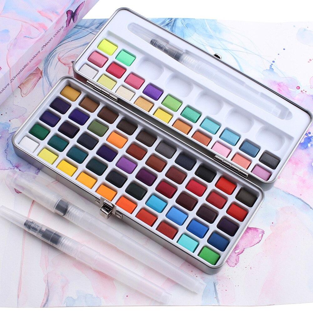 Profesjonalne 50/72/90 kolorów stałe farby akwarelowe zestaw artysta wody farba kolorująca praktyki do rysowania artystycznego farby dostaw sztuki