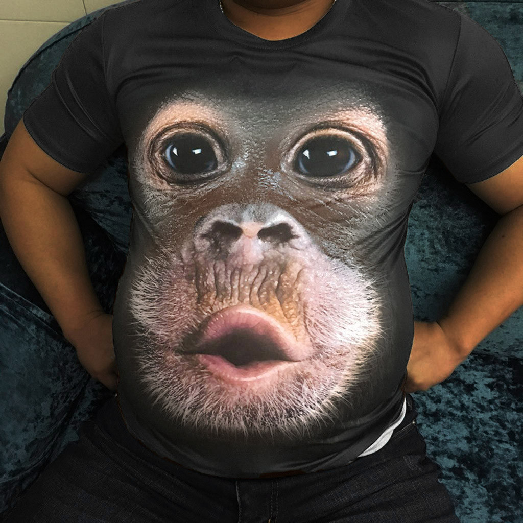 Funny Design Men Spring Summer Men's T-Shirts 3D Printed Animal Monkey Short Sleeve Funny Design Casual Tops Tees Male Drop