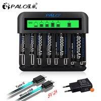 Cargador de batería inteligente con 8 ranuras, pantalla LCD de 1,2 V, AA, AAA, SC, tamaño C, D, batería recargable de 1,2 V, Ni-MH, ni-cd