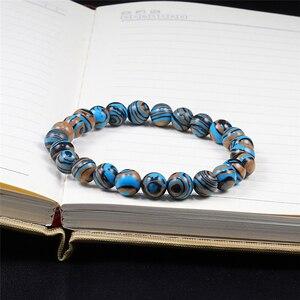 Image 5 - Женский и мужской браслет из натурального камня, буддийский браслет из голубого малахита, с бусинами, для молитвы, йоги
