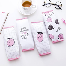 Strawberry Pomegranate PU Leather Pencil Case Large Capacity School Students Pencil Bag Korea Stationery Office Supplies strawberry overlay pencil case
