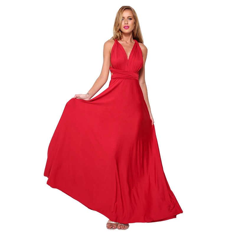 الصيف مثير المرأة ماكسي فستان أحمر إنفينيتي فستان طويل متعدد الاتجاهات وصيفات الشرف للتحويل التفاف فساتين الحفلات رداء طويل فام