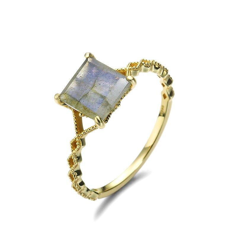 Rétro carré arc-en-ciel Labradorite bague en argent Sterling 925 minimaliste bague pour femmes or Vermeil Antique bijoux bague de fiançailles - 2
