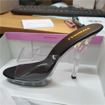 Hot 13 cm sweet gentle woman crystal transparent slippers, platform party sexy shoes, fashionable sandals 5