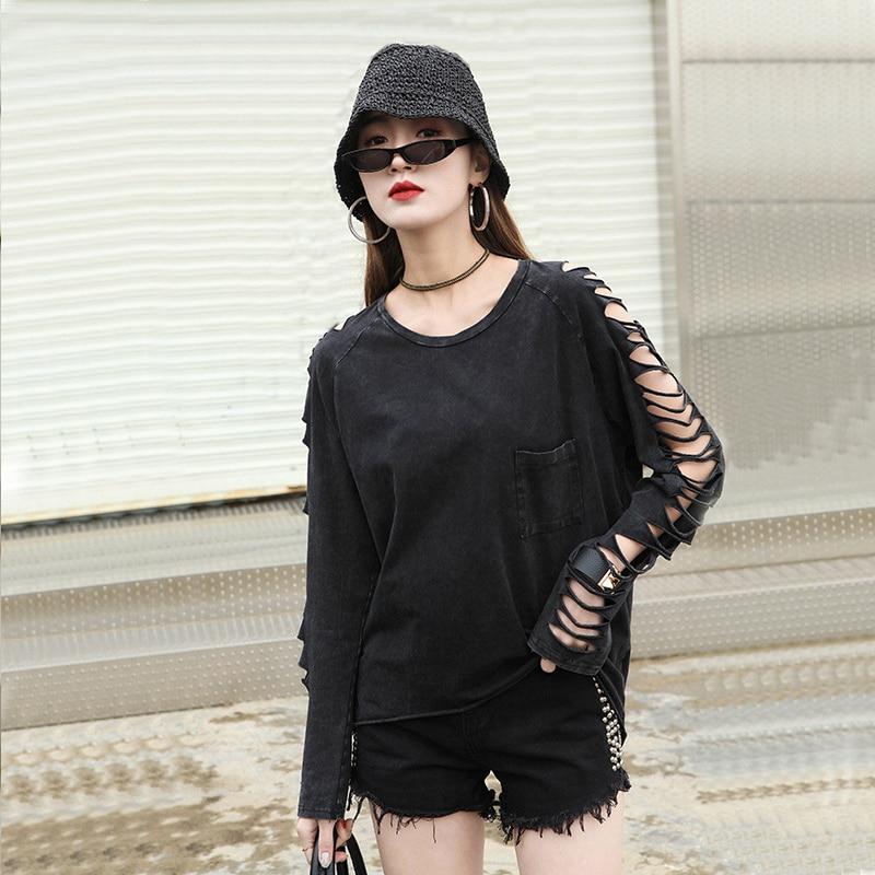 Men Women Oversized T Shirt Loose Distressed Raglan Sleeve Tops Gothic Punk Grey