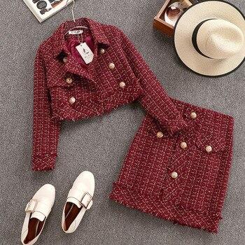 Jesień zima mały zapach w stylu Vintage Tweed dwuczęściowy zestaw kobiet jednorzędowy krótkie wełniana kurtka płaszcz + Mini spódnica 2 sztuka zestaw
