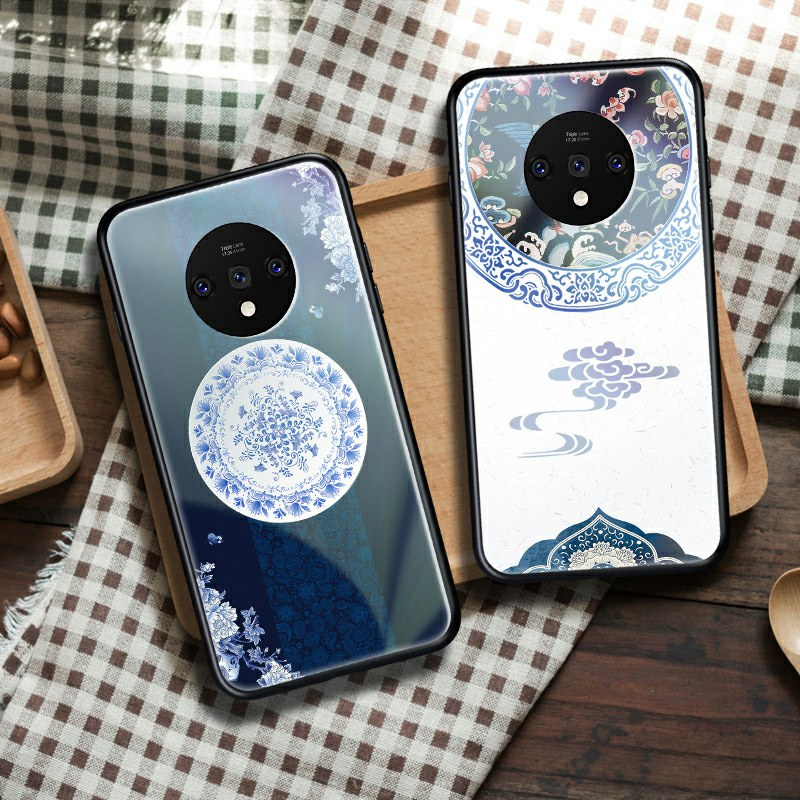 Tempered <font><b>Glass</b></font> Phone <font><b>Case</b></font> For <font><b>Oneplus</b></font> 7T 7 Pro 6 6T 5 <font><b>5T</b></font> Luxury Chinese Style Back Cover image