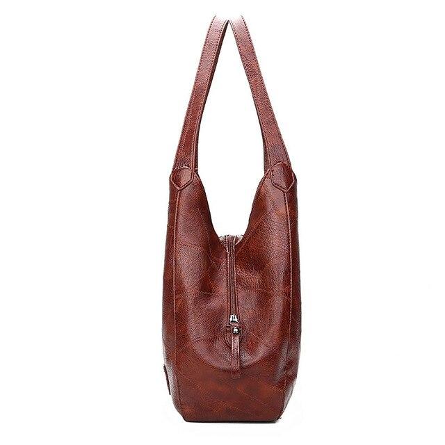 Женская кожаная сумка с ручками и тремя отделениями 5