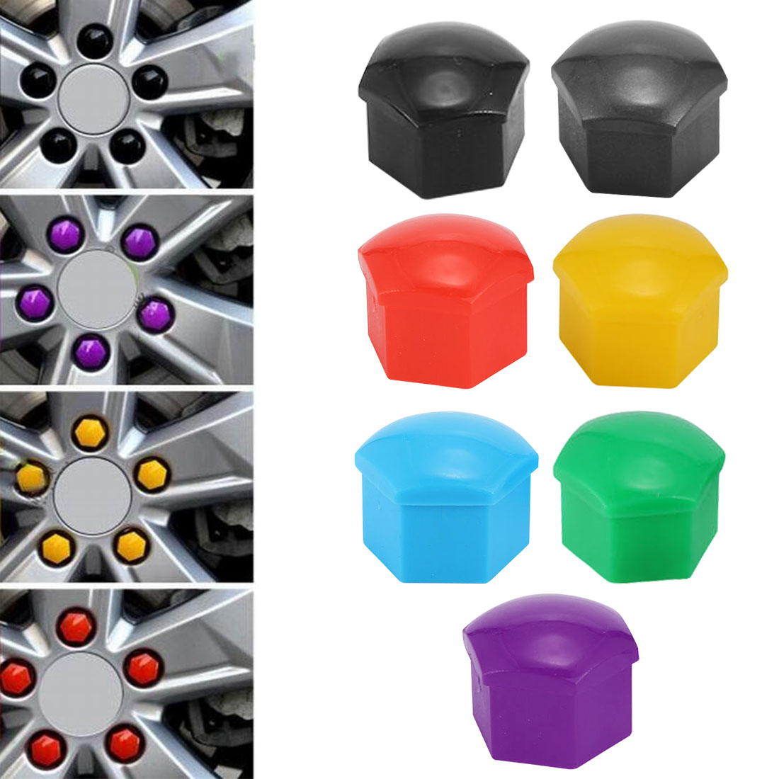 <font><b>Silicone</b></font> <font><b>Car</b></font> Bolt Caps 20pcs/bag 17mm 19mm 21mm <font><b>Car</b></font> Bolt Caps <font><b>Wheel</b></font> <font><b>Nuts</b></font> <font><b>Silicone</b></font> <font><b>Covers</b></font> Practical Hub Screw Cap Protector image