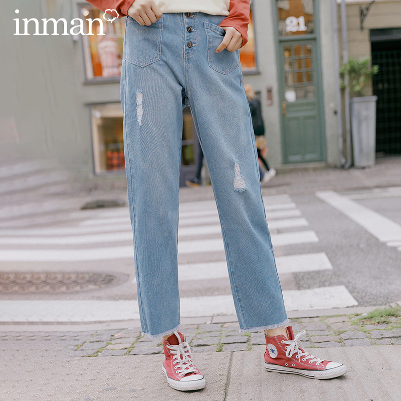 INMAN 2020 Spring New Arrival Literary Cotton Nifty Leisure Personality All-match Buttons Hole Jean