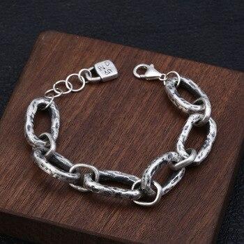 Genuine 925 Sterling Silver Bracelet Creative Retro Chain Wrist Jewelry Thai Silver Female Accessories Gift
