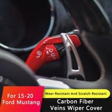 QHCP-escobilla de palanca de cambios para coche, cubierta de barra, embellecedor decorativo, Marco apto para Ford Mustang 2015, 2016, 2017, 2018, 2019, 2020, accesorio